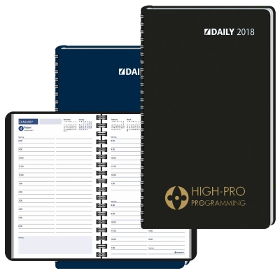 2018 Ruled Desk Planner, 1 Day Per Page Wired to Cover