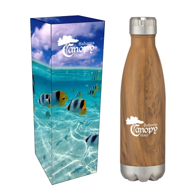 16 Oz. Swig Stainless Steel Woodtone Bottle With Custom Box