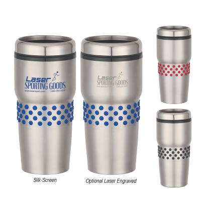 16 Oz. Stainless Steel Tumbler With Dotted Rubber Grip