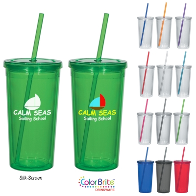 24 Oz. Newport Acrylic Tumbler With Straw
