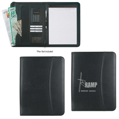 Leather Look 8 .5 x 11 Zippered Portfolio With Calculator