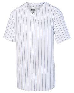 Augusta Drop Ship Unisex Pin Stripe Full Button Baseball Jersey