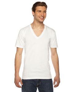 American Apparel Unisex USA Made Fine Jersey Short-Sleeve V-Neck T-Shirt