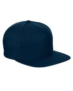 Yupoong Adult 6-Panel Melton Wool Structured Flat Visor Classic Snapback Cap