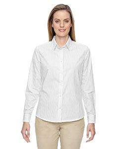 Ash City - North End Ladies Align Wrinkle-Resistant Cotton Blend Dobby Vertical Striped Shirt