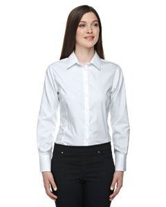 Ash City - North End Ladies Boulevard Wrinkle-Free Two-Ply 80's Cotton Dobby Taped Shirt with Oxford Twill