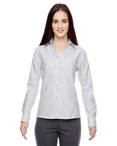 Ash City - North End Ladies Precise Wrinkle-Free Two-Ply 80's Cotton Dobby Taped Shirt