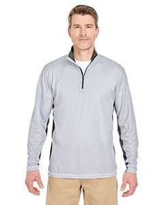 UltraClub Adult Two-Tone Keyhole Mesh Quarter-Zip Pullover