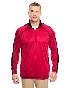 UltraClub Adult Cool & Dry Sport Quarter-Zip Pullover with Side and Sleeve Panels