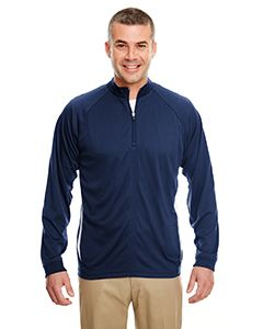 UltraClub Adult Cool & Dry Sport Quarter-Zip Pullover with Side Panels