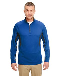 UltraClub Adult Cool & Dry Colorblock Dimple Mesh Quarter-Zip Pullover
