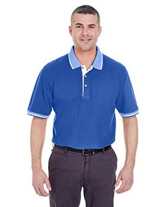 UltraClub Adult Color-Body Classic Pique Polo with Contrast Multi-Stripe Trim