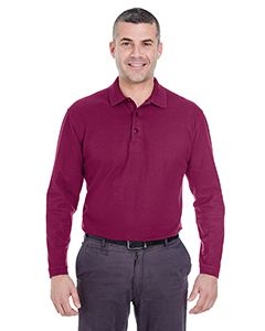 UltraClub Adult Long-Sleeve Whisper Pique Polo