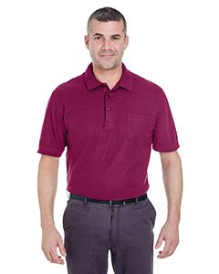 UltraClub Adult Whisper Pique Polo with Pocket