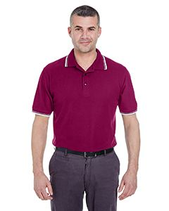 UltraClub Men's Short-Sleeve Whisper Pique Polo with Tipped Collar and Cuffs