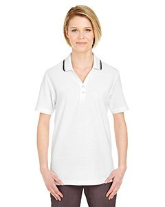 UltraClub Ladies Short-Sleeve Whisper Pique Polo with Tipped Collar