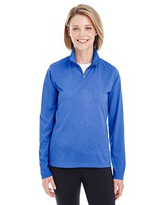 UltraClub Ladies Cool & Dry Heathered Performance Quarter-Zip