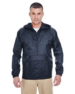 UltraClub Adult Quarter-Zip Hooded Pullover Pack-Away Jacket