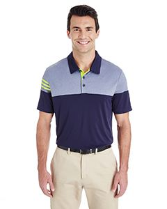 adidas Golf Men's 3-Stripes Heather Block Polo
