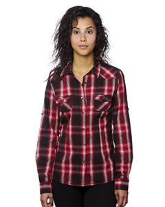 Burnside Ladies Western Plaid Long-Sleeve Shirt