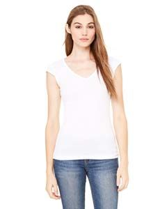 Bella + Canvas Ladies Sheer Mini Rib Cap-Sleeve Deep V-Neck T-Shirt