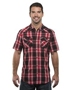 Burnside Men's Plaid Pattern Western Woven