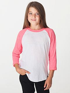 American Apparel Youth Poly-Cotton 3/4-Sleeve T-Shirt