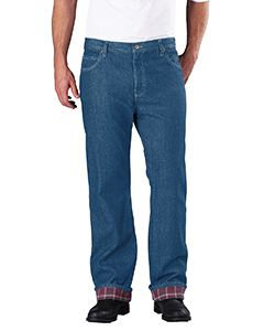 Dickies Drop Ship Men's Relaxed Straight-Fit Flannel-Lined Denim Jean Pant