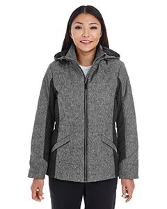 Devon & Jones Ladies Midtown Insulated Fabric-Block Jacket with Crosshatch Melange