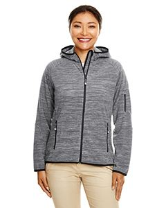 Devon & Jones Ladies Perfect Fit  Melange Velvet Fleece Hooded Full-Zip