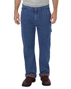 Dickies Drop Ship Men's Relaxed Fit Straight-Leg Flannel-Lined Carpenter Denim Pant