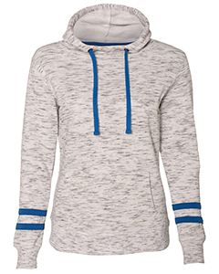 J America Ladies Melange Scuba Neck Sweatshirt