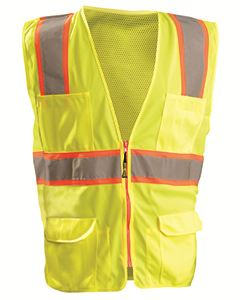 OccuNomix Men's High Visibility Classic Two-Tone Surveyor Safety Mesh Vest