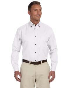 Harriton Men's Tall Easy Blend Long-Sleeve Twill Shirt with Stain-Release