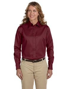 Harriton Ladies Easy Blend Long-Sleeve Twill Shirt with Stain-Release