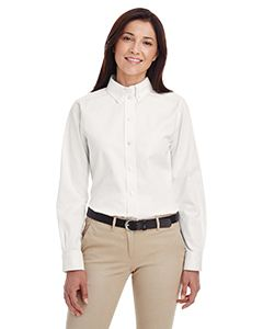 Harriton Ladies Foundation 100% Cotton Long-Sleeve Twill Shirt with Teflon