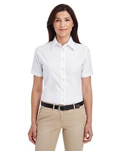Harriton Ladies Short-Sleeve Oxford with Stain-Release