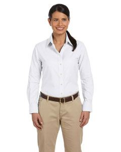 Harriton Ladies Long-Sleeve Oxford with Stain-Release