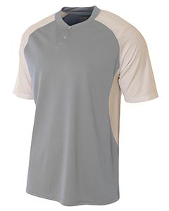 A4 Drop Ship Adult Performance Contrast 2 Button Baseball Henley T-Shirt
