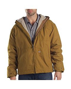 Dickies Drop Ship 8.5 oz. Sanded Duck Sherpa Lined Hooded Jacket