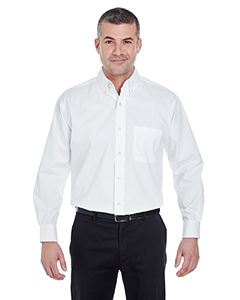 UltraClub Men's Long-Sleeve Performance Pinpoint