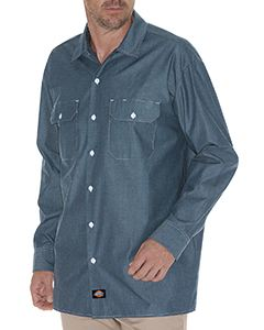 Dickies Drop Ship Men's Tall Relaxed Fit Long-Sleeve Chambray Shirt