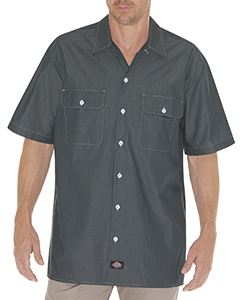 Dickies Drop Ship Unisex Relaxed Fit Short-Sleeve Chambray Shirt